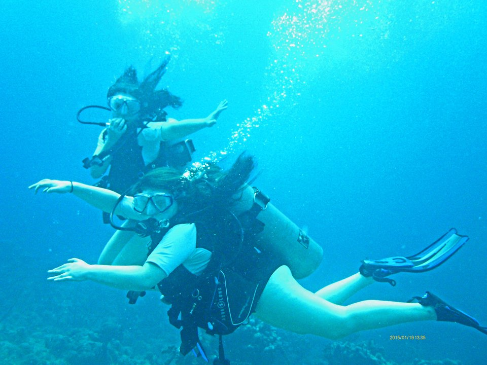 Gabbey and Gina Diving